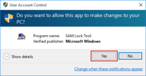 run SAM Lock Tool in Windows 10