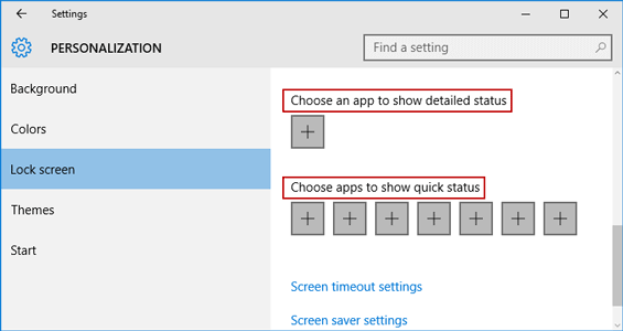 show app stats on windows 10 lock screen