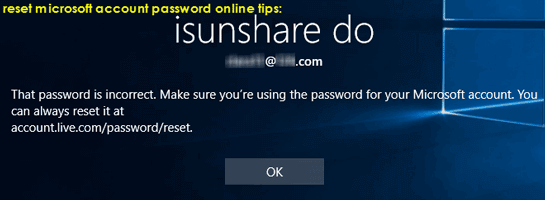 tips for microsoft account password reset