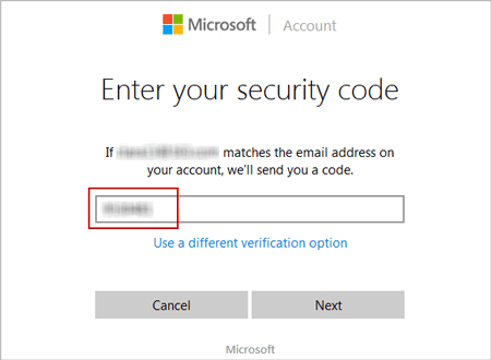 verify email account with security code