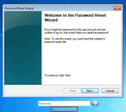 recover windows 7 login password with reset disk