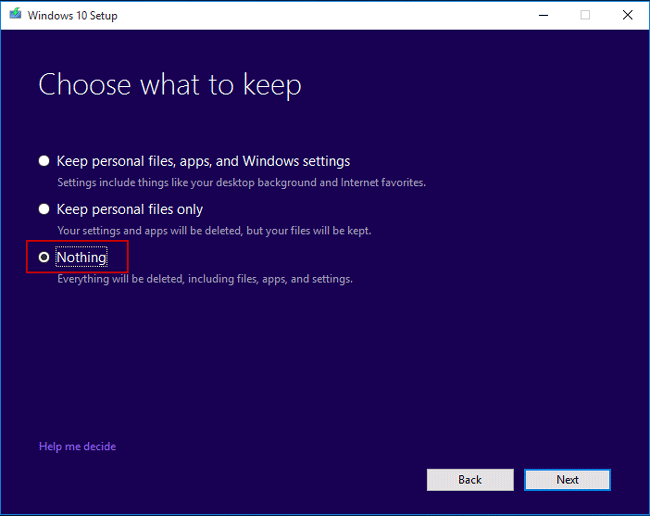 choose to keep nothing if reinstall system