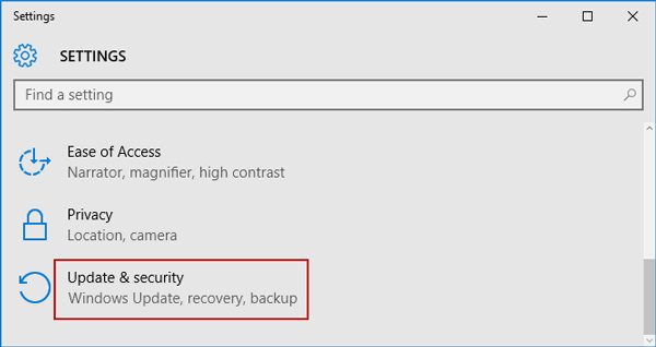 choose update and recovery option in settings window