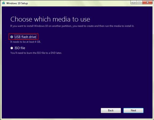 choose usb flash drive as media