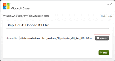 choose windows 10 iso image file
