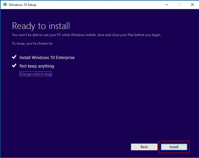 click on install to begin windows 10 clean reinstall