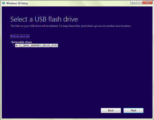 confirm the usb drive you insert
