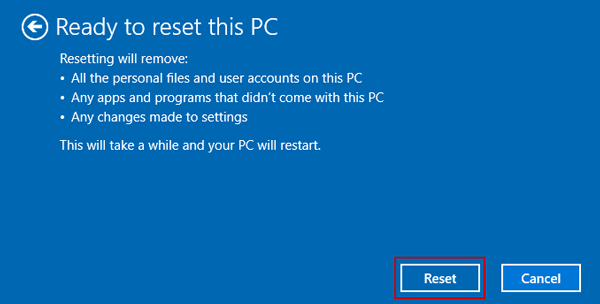 confirm to reset pc to clean reinstall windows 10