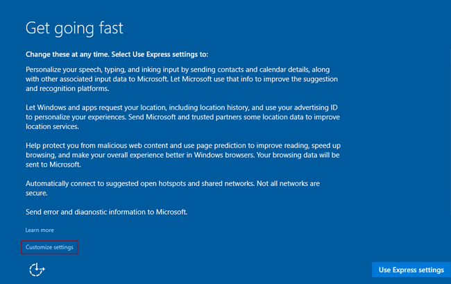 customize windows 10 settings