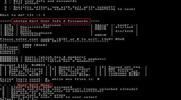 reset windows 7 password with chntpw