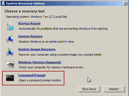 run command prompt from windows 7 install cd