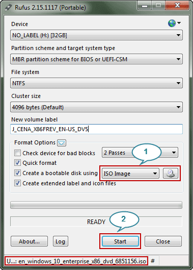 settings before starting creating bootable usb with rufus