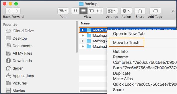 delete iTunes backup file in hard drive