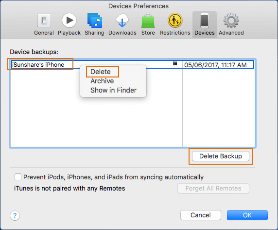 delete iTunes backup on Windows and Mac in iTunes