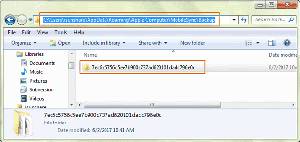 iPhone backup location Windows PC:
