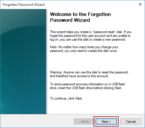 open wizard to create a password reset disk in windows 10