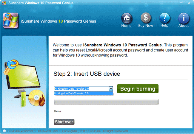 burn isunshare windows 10 password reset tool into usb
