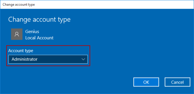 change standard user to administrator windows 10