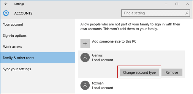 choose standard user in windows 10 pc settings