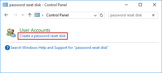 create password reset disk on windows 10
