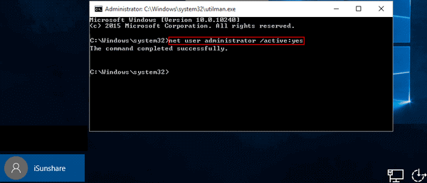 enable built-in administrator with installation disc via command