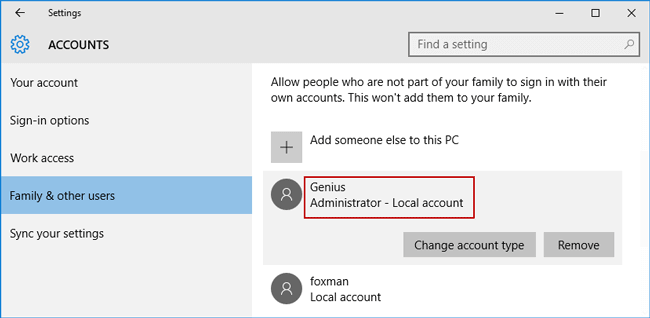 successfully change windows 10 account type