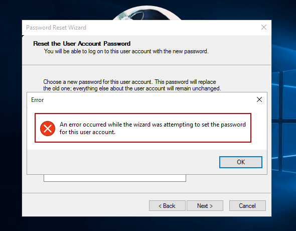 windows 10 password reset disk not working