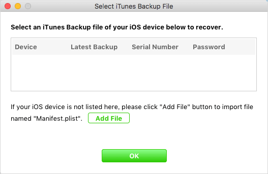 add encrypted iphone itunes backup file