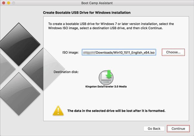 create Windows 10 installer USB on Boot Camp