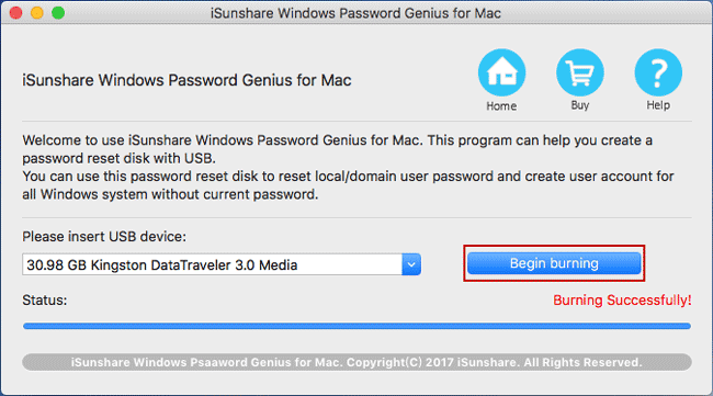 create windows 10 password reset disk with usb on mac