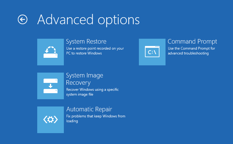 advanced option in windows 10 8