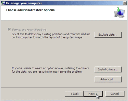 choose aditional restore options