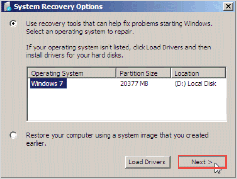 system recovery options windows 7