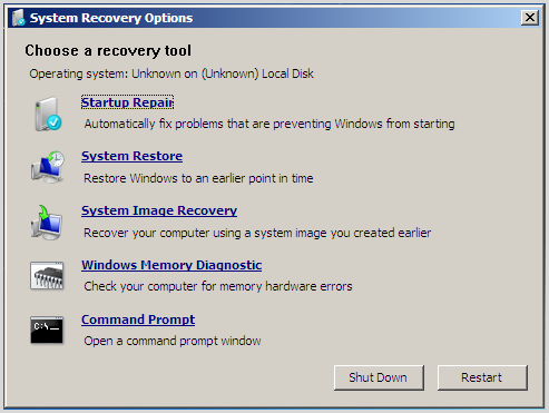 windows 7 system recovery option