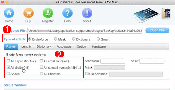 iTunes backup password recovery type