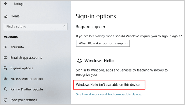 windows hello isnt available on this device