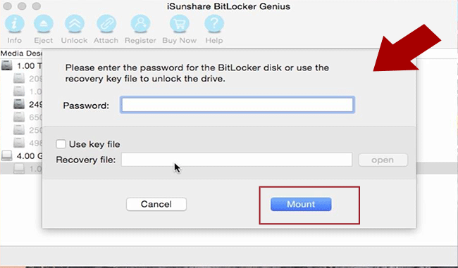 open usb drive with password or recovery key