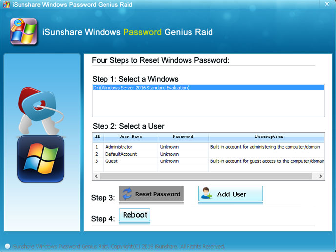 Windows Server 2016 default admin password