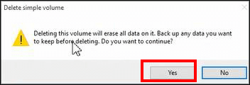delete simple volume prompt