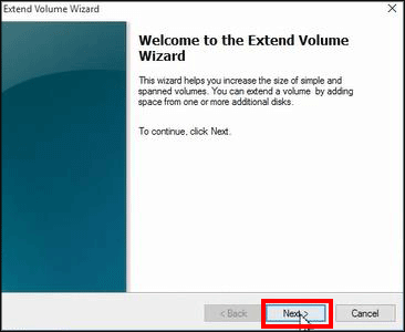 the extend volume wizard