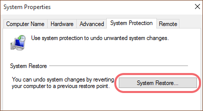 click the system restore option