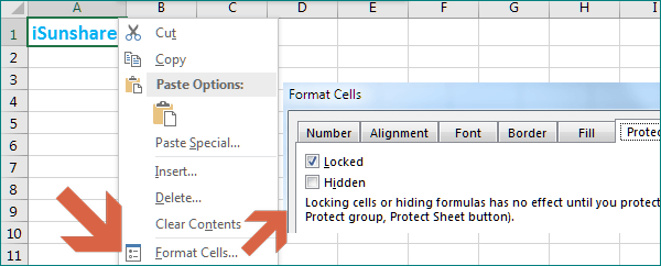 lock the selected cells