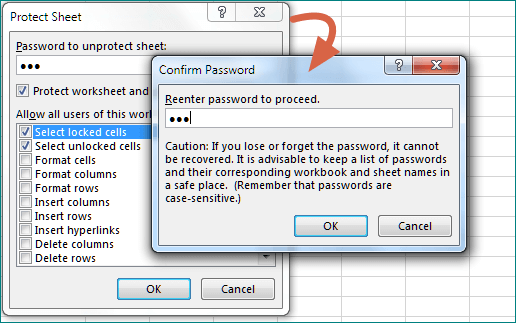 protect the sheet with password