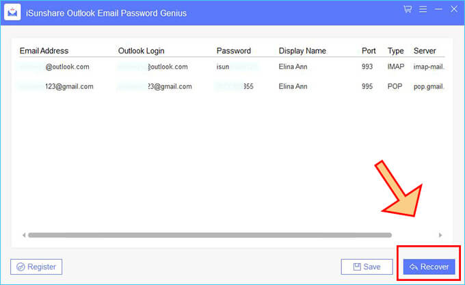 recover email password in MS Outlook