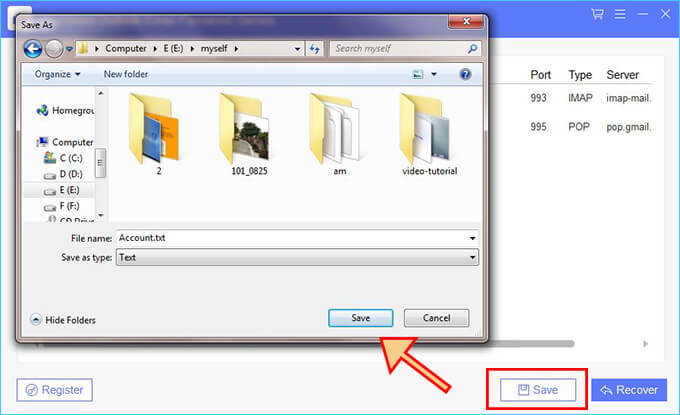 save recovered password to txt file