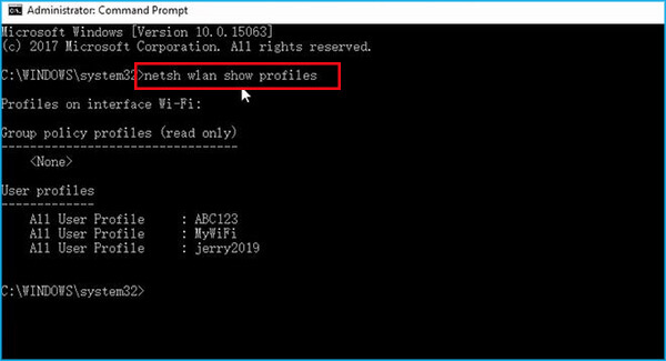 use command line to find your wifi profile