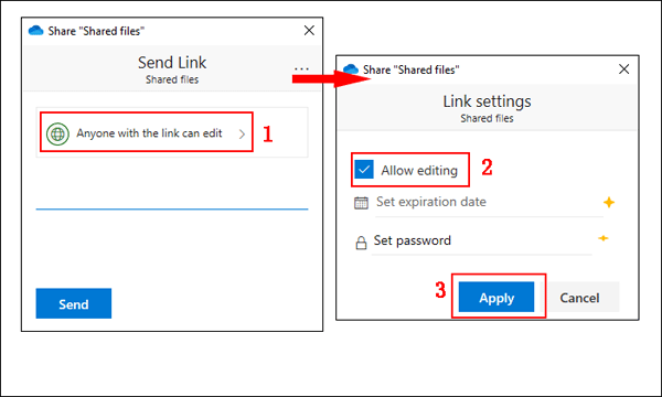 Choose the access privileges of the file/folder
