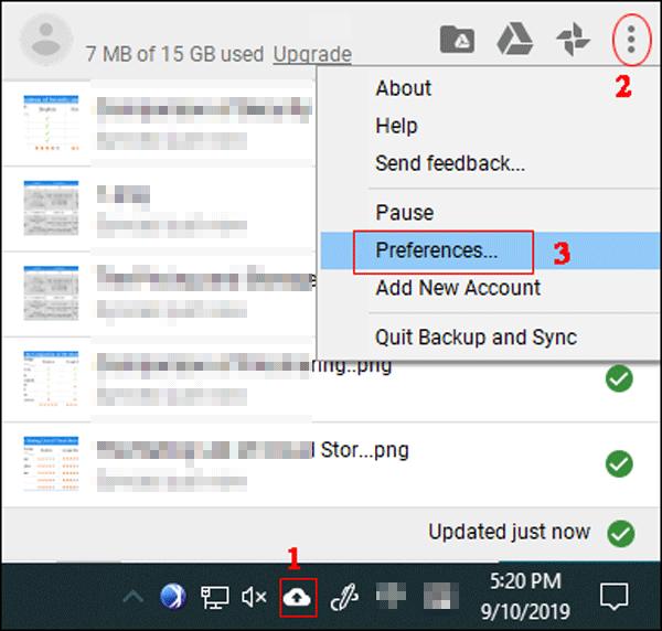 Open Google Drive preferences