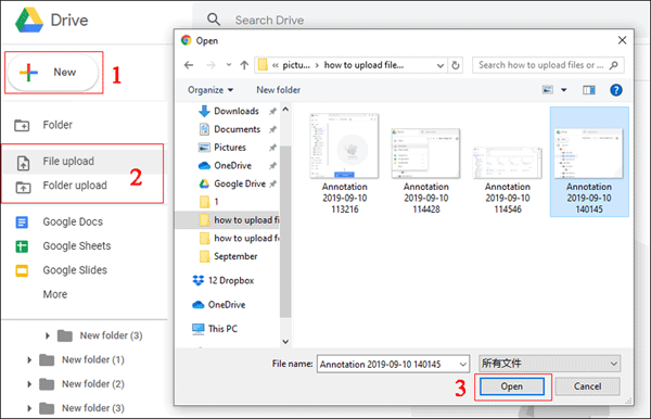 Use new button to upload files or folder