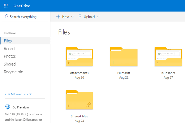 open onedrive on the browser